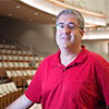Dawkins' encore: Custodian Bill Dawkins returns to keep the new Hancher Auditorium clean