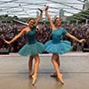Abbey Marrison and Kiely Groenewegen strike a pose onstage at Chicago's Millennium Park. Courtesy Marrison