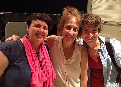 Liz Lerman with MFA students Nina Morrison and Sam Collier