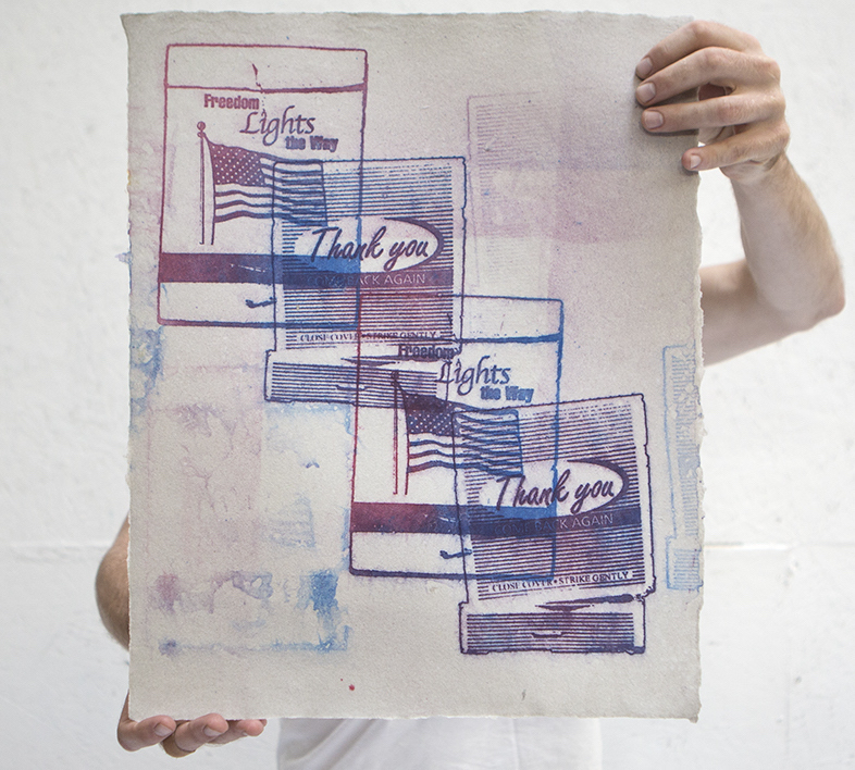Pulp print on handmade paper from military uniforms