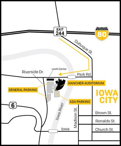 Map of area surrounding Hancher Auditorium