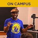 On campus (Photo: Marc Bamuthi Joseph in a UI classroom)